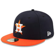 Houston Astros New Era Road Authentic Collection On Field 59FIFTY Performance Fitted Hat - Navy/Orange