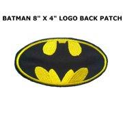 "Superheroes DC Comics Batman Logo 8"" X 4"" Embroidered X-Large Iron/Sew-on Applique Back Patch"
