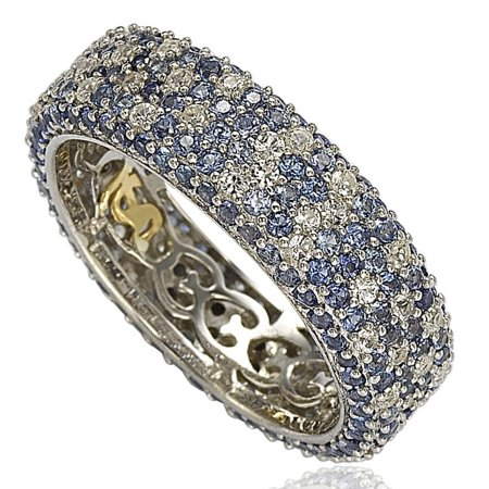 Sterling Silver 5 1/3ct TGW Sapphire and Diamond Accent Eternity Pave Ring