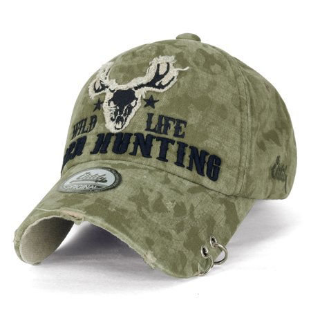 ililily WILD LIFE Embroidery Eyelet Ring Trim Cotton Baseball Cap Trucker Hat , Olive Drab ()