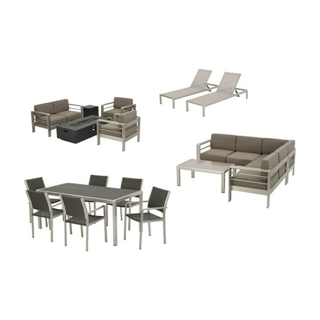 Image of Home Cape Coral Aluminum 18 Piece Fire Pit Patio and Dining Set