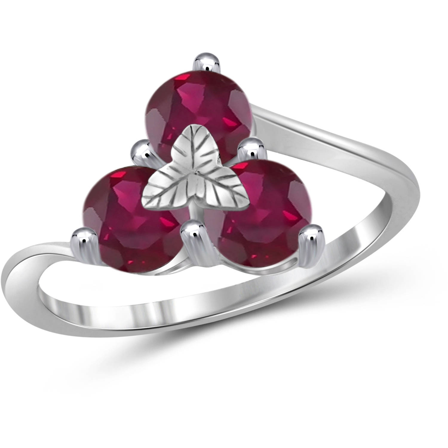 JewelersClub 2.04 Carat T.G.W. Ruby Gemstone Sterling Silver Ring by JewelersClub