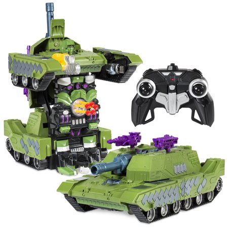 Best Choice Products Kids Remote Control Transformer RC Robot Toy Tank Car w/ LED Lights, Sound Effects, USB Charger -