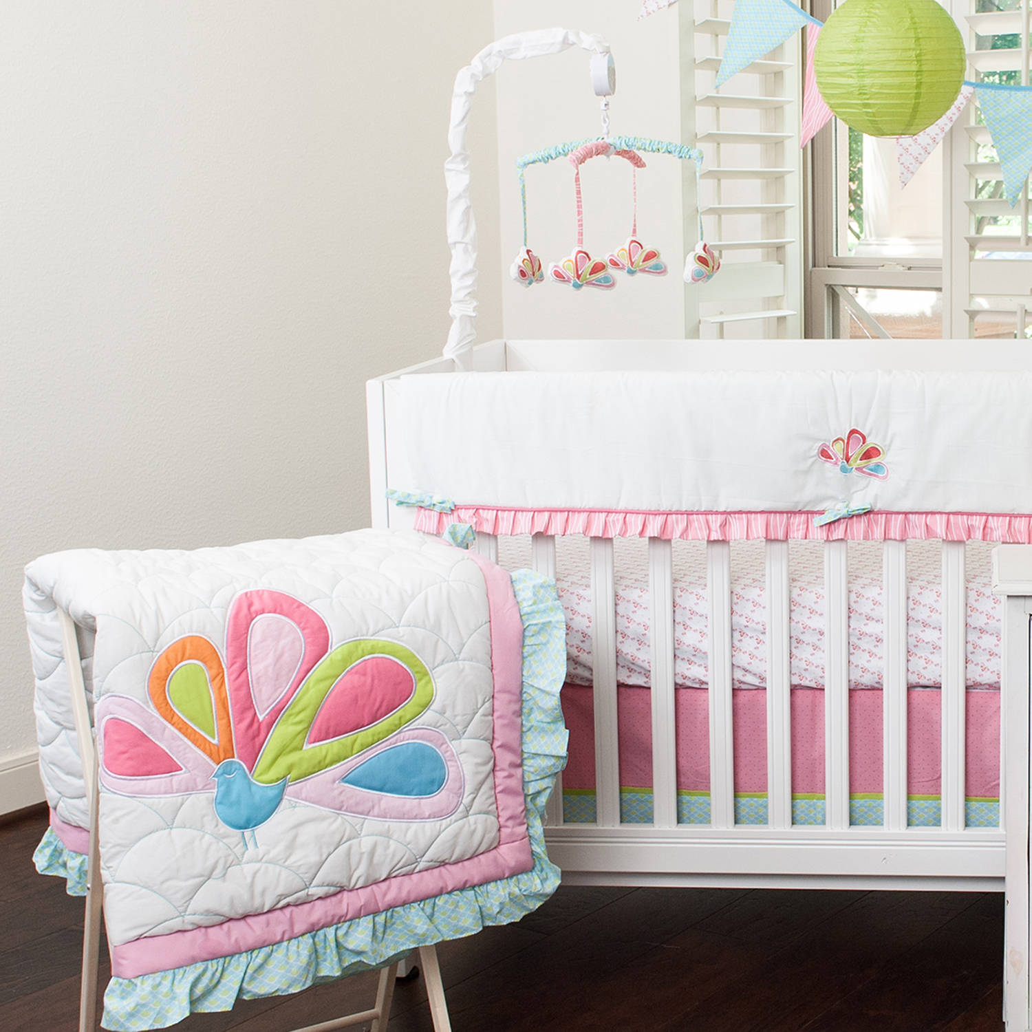 Pam Grace Creations Aqua Peacock Crib Bedding Collection