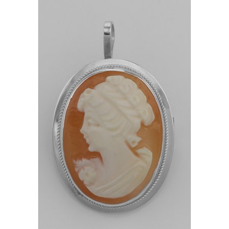 Hand Carved Italian Cameo Pin / Pendant - Roman Style - Sterling Silver (Hand Carved Cameo Pin)