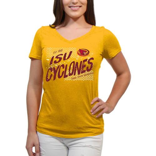 Iowa State Cyclones Scatter Doodle Women'S/Juniors Team Short Sleeve V Neck Tee Shirt