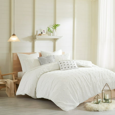 Jacquard Duvet Set (Home Essence Apartment Kay Cotton Jacquard Duvet Cover Set, Full/Queen Ivory White)