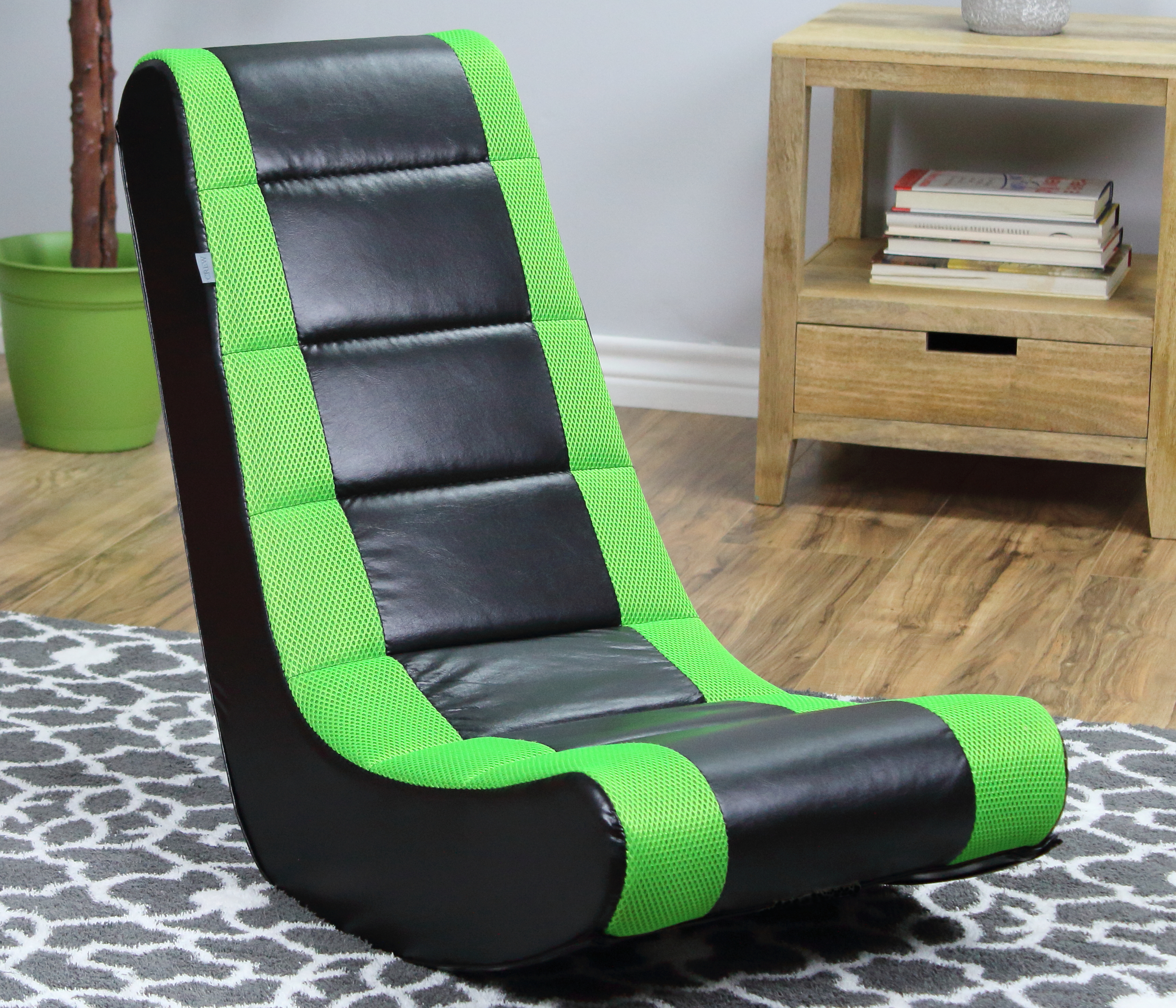 Gaming Chair For Kids S Video Tv Movie Rocker Floor Room Black Neon Green