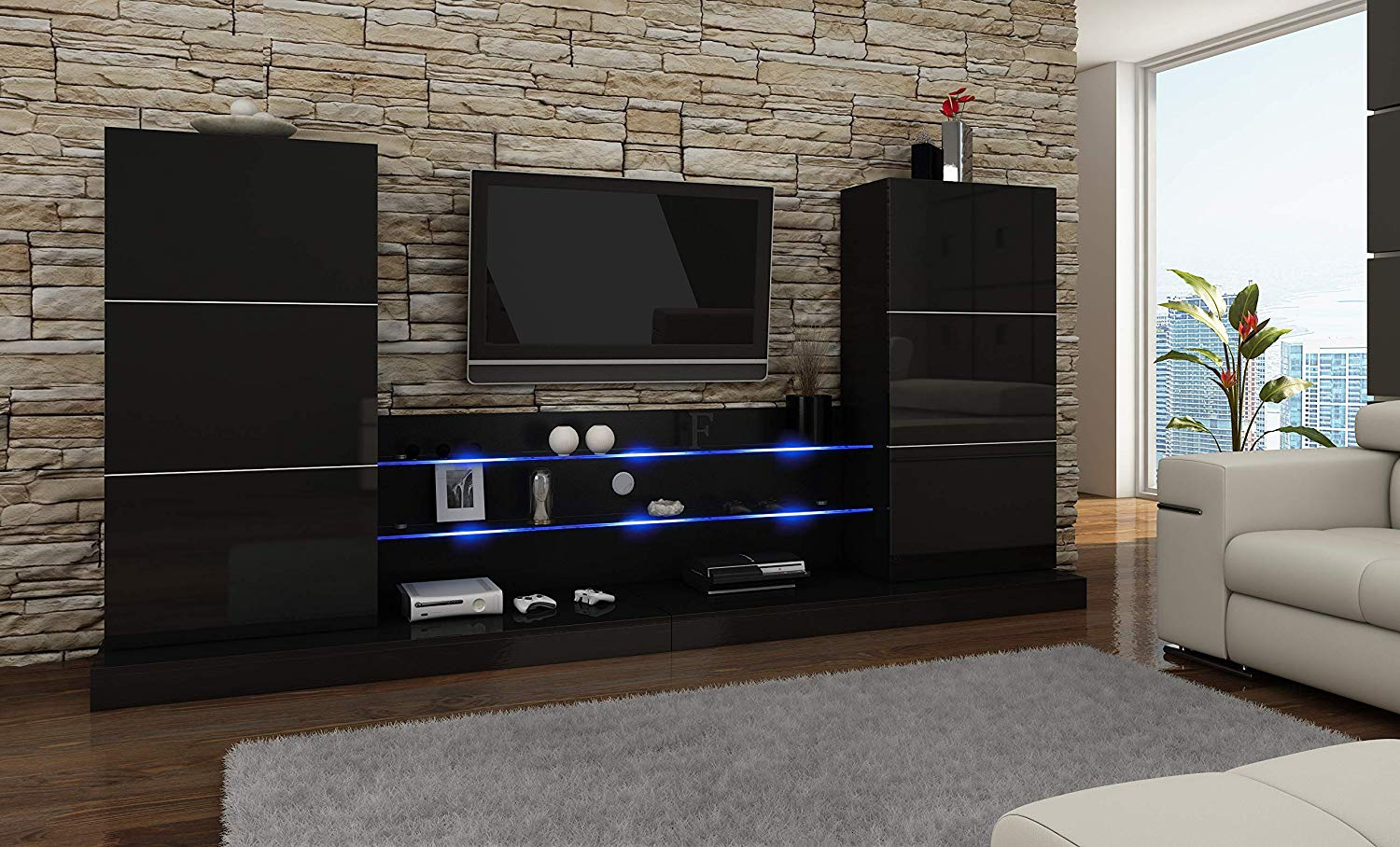 73cd65f5f3e87a Ulm Modern Entertainment Center Wall Unit with LED Lights 70