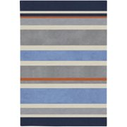 8' x 10' Midnight Blue and Dove Gray Striped Rectangular Area Throw Rug