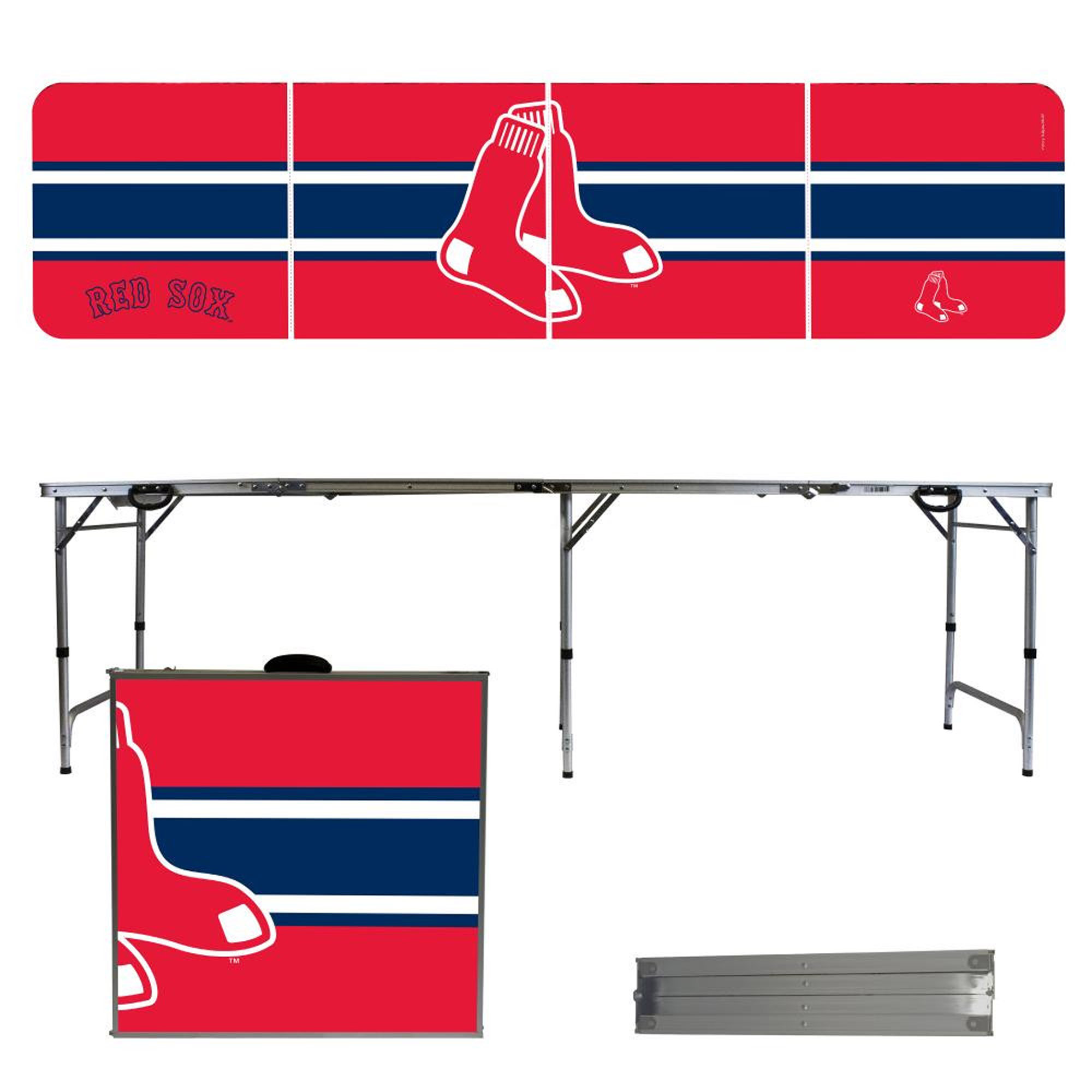 Boston Red Sox Striped Design 8' Portable Folding Tailgate Table - No Size