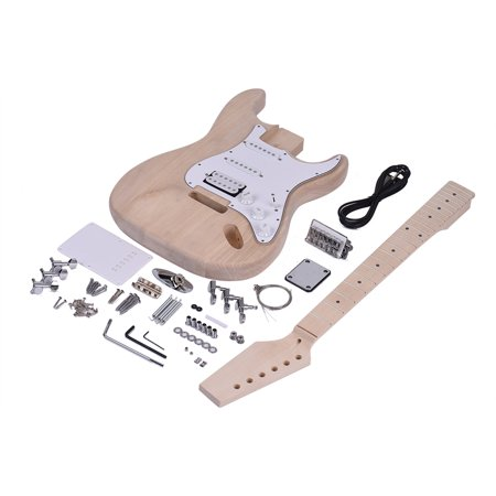 Muslady ST Style Unfinished DIY Electric Guitar Kit Basswood Body Maple Neck Maple Fingerboard