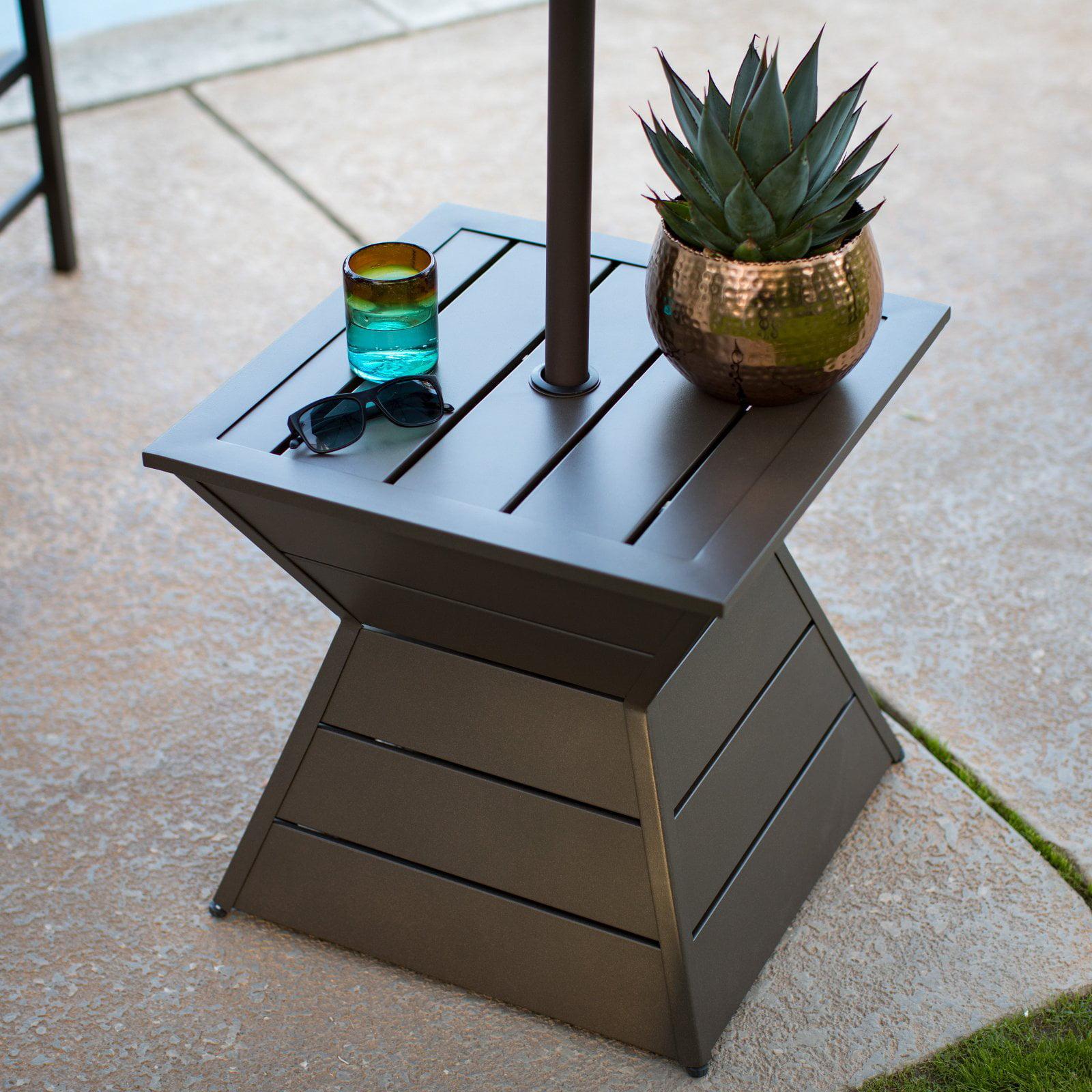 Coral Coast Walton Steel Geometric Slatted Umbrella Side Table by 4 Seasons Global Inc
