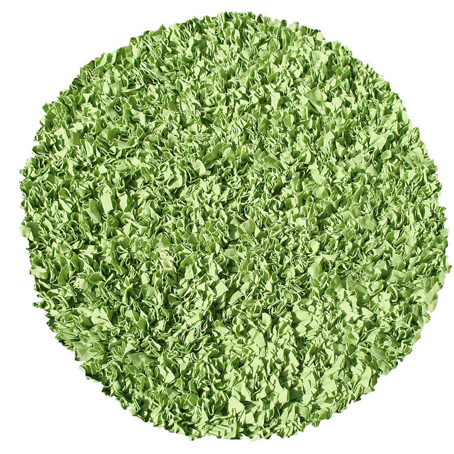 The Rug Market Shaggy Raggy Lime Round Area Rug, Size 4' x 4'