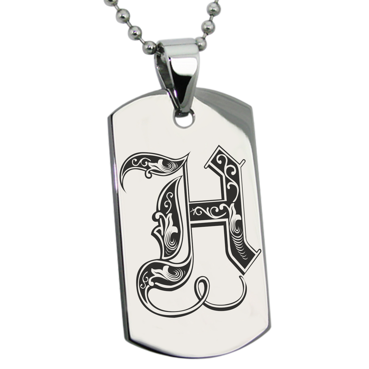 Stainless Steel Letter H Initial Royal Monogram Engraved Dog Tag Pendant