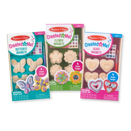 Melissa & Doug Created by Me! Paint & Decorate Your Own Wooden Magnets Craft Kit For Kids 3 Pack – Butterflies, Hearts, Flowers (4 Each
