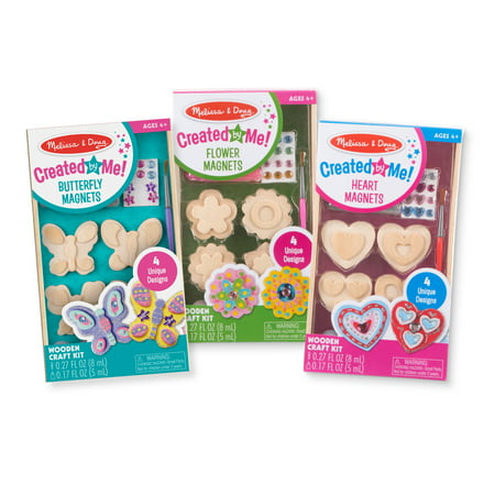 Melissa & Doug Created by Me! Paint & Decorate Your Own Wooden Magnets Craft Kit For Kids 3 Pack – Butterflies, Hearts, Flowers (4 Each Set) - Children's Christmas Crafts