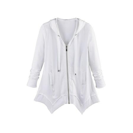 - Women's French Terry Zip-Up Hoodie - Tunic Style Sharkbite Hem Hooded Sweatshirt