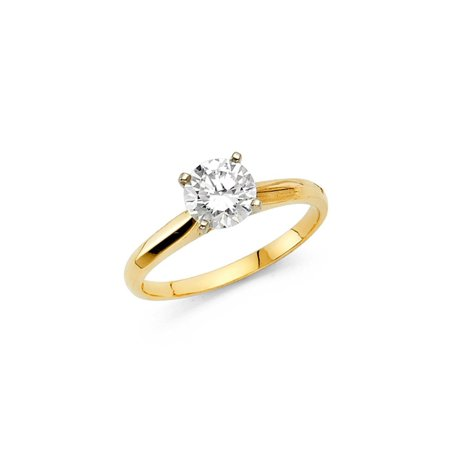 14K Solid Yellow Gold 1.00 cttw Classic Traditional Round Brilliant Cut Solitaire Cubic Zirconia Engagement Ring , Size 7