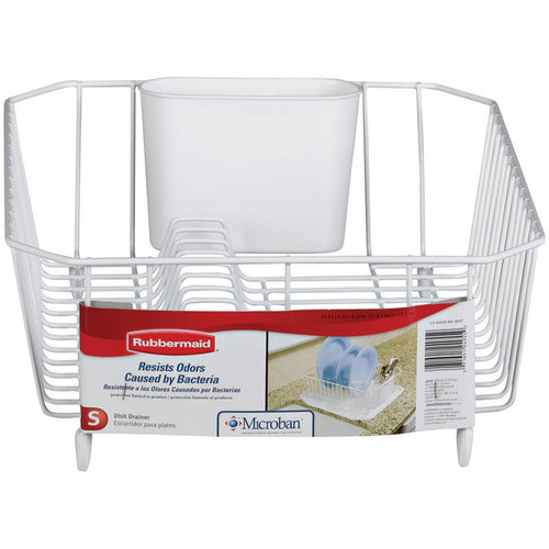 Rubbermaid Antimicrobial Dish Drainer, Small, White
