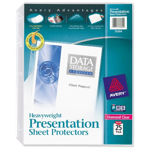 Avery Diamond Clear Heavyweight Sheet Protectors 75304, Acid Free, Pack of 25