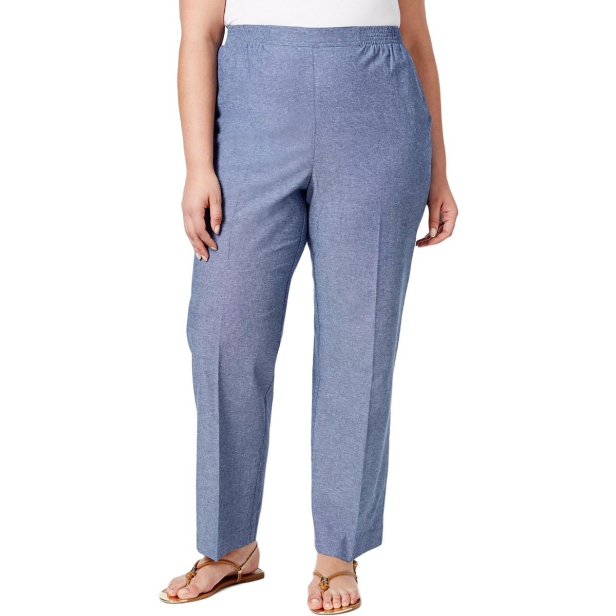 Alfred Dunner Womens Plus Pull On Solid Casual Pants