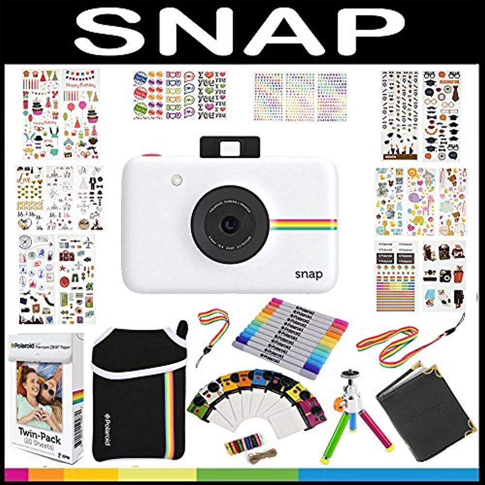 Polaroid Snap Instant Camera Gift Bundle ZINK 9 Unique Colorful Sticker Sets Pouch Photo Album Accessories