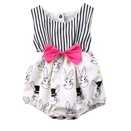 Girls Striped Romper - Summer Toddler Infant Baby Girl Striped Easter Bunny Romper Sunsuit Outfit Clothes