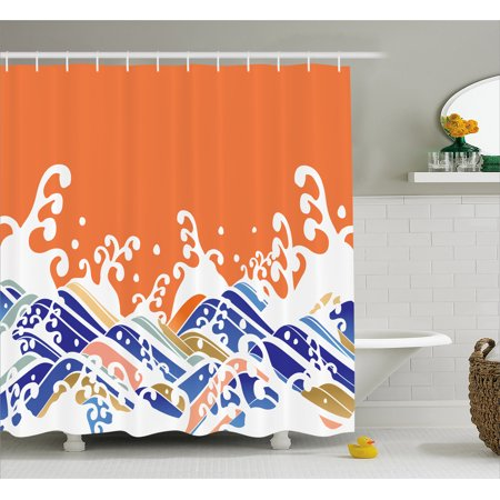 Japanese Wave Shower Curtain Vibrant Colorful Waves Illustration Intense Spindrift Nature Summer Surf Asia