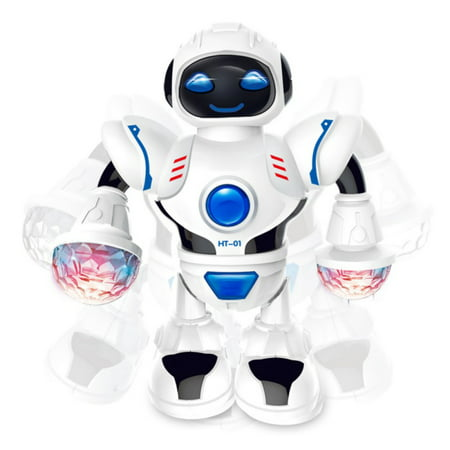 Electronic Walking Dancing Robot Toys With Music Lightening For Kids Boys Girls Toddlers, Battery Operated(Not Included)