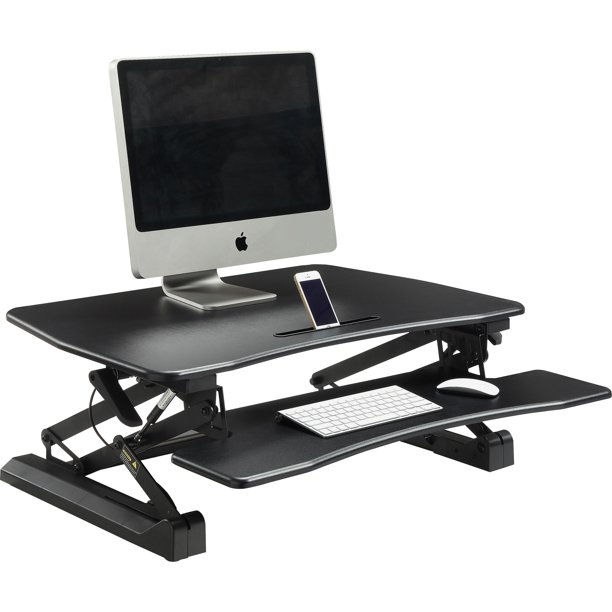 "Universal Sit-to-Stand Desk Riser, Gas-Powered, 32"", Black"