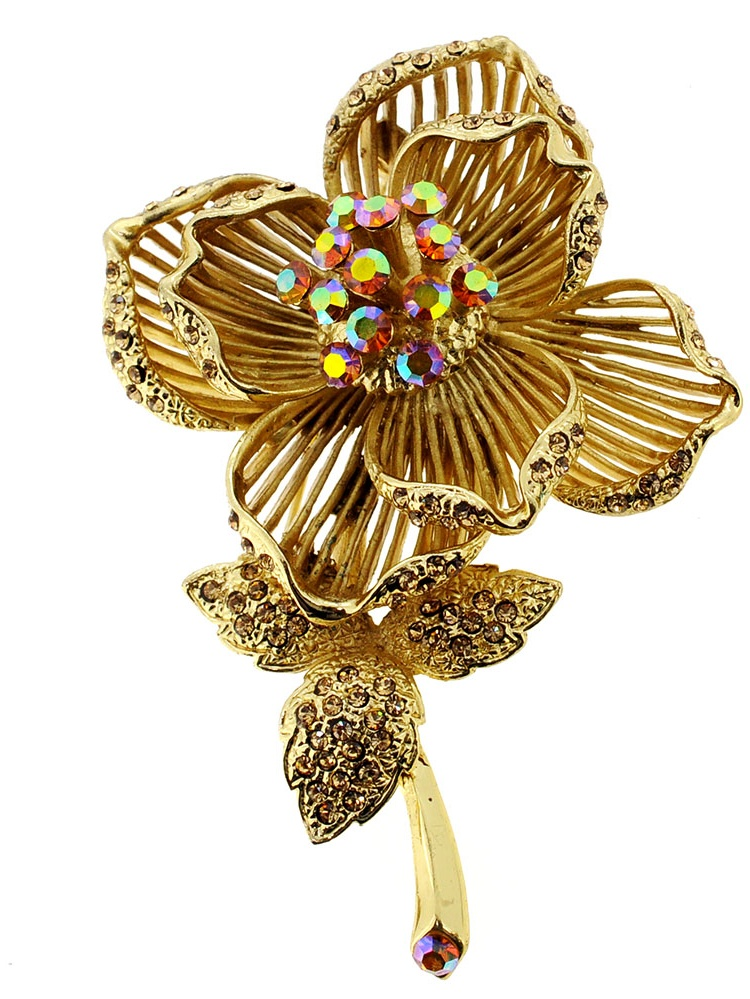 Golden Topaz Crystal Rose Flower Pin Brooch by