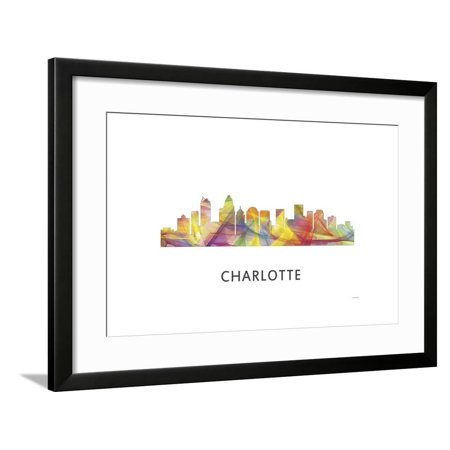 Charlotte nc skyline framed print wall art by marlene - Wallpaper store charlotte nc ...