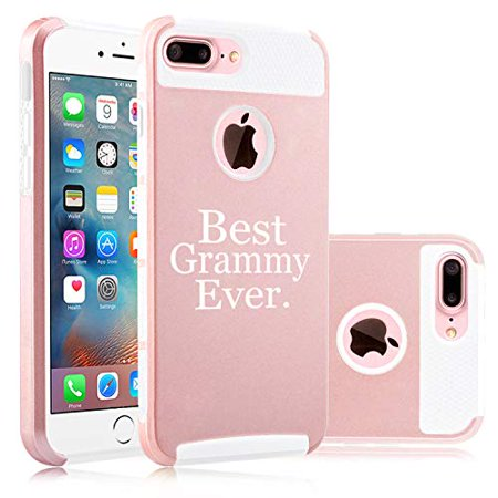 Shockproof Impact Hard Soft Case Cover for Apple iPhone Best Grammy Ever Grandma Grandmother (Rose Gold-White, for Apple iPhone 7 / iPhone