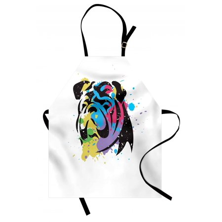 Bulldog Apron - English Bulldog Apron Bulldog Portrait with Rainbow Style Color Splashes Simplistic Animal Design, Unisex Kitchen Bib Apron with Adjustable Neck for Cooking Baking Gardening, Multicolor, by Ambesonne