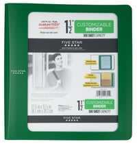 "Five Star1 1/2""PlasticBinder Green"