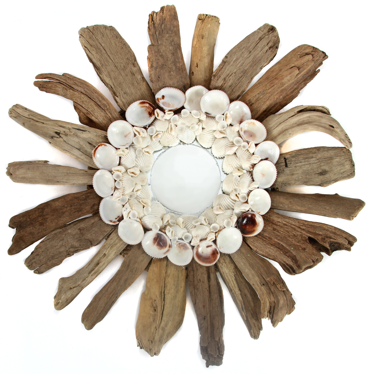 Natural Driftwood and Sea Shells 15 Inch Mirror Wall Decor