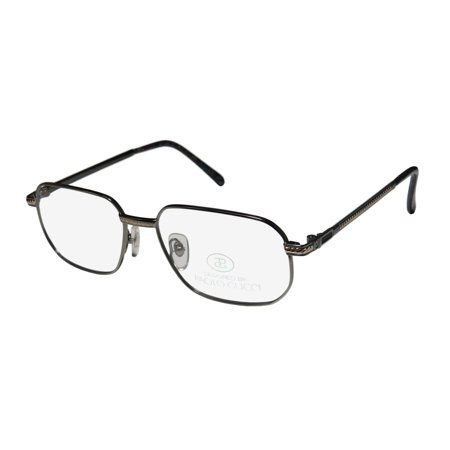 New Paolo Gucci 8112 Mens/Womens Designer Full-Rim Gunmetal / Gold 21k Gold Plated Fashionable Male Hip Frame Demo Lenses 54-16-140 Eyeglasses/Eye (Gucci Male Glasses)