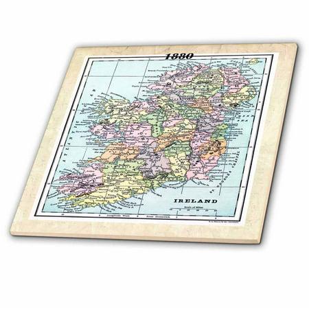 3dRose 1880 Map Of Ireland Ceramic Tile 4 inch