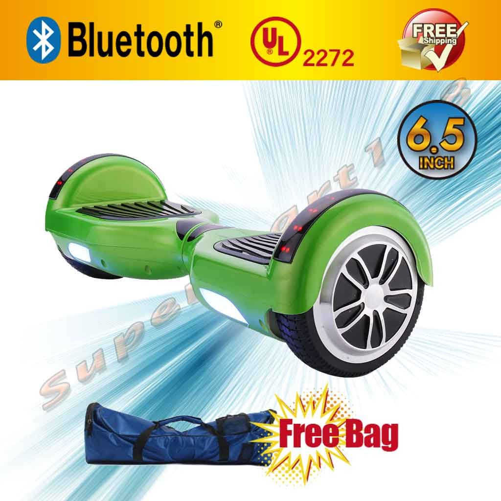 """Bag + Green UL 2272 Certified Bluetooth Self-Balancing Electric Scooter Hoverboard Skateboard LED 6.5"""" (WHEELS-UC6.5-GREEN)"""