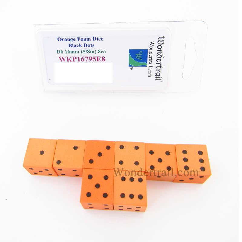 Orange Foam Dice with Black Dots D6 16mm (5/8in) Pack of 8 Wondertrail