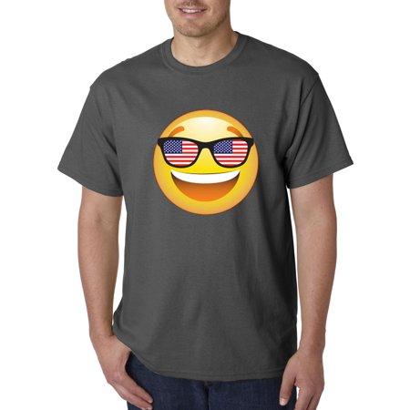 474 - Unisex T-Shirt Emoji Smiley Face USA American Flag Sunglasses 4th (Emoji Face With Sunglasses)