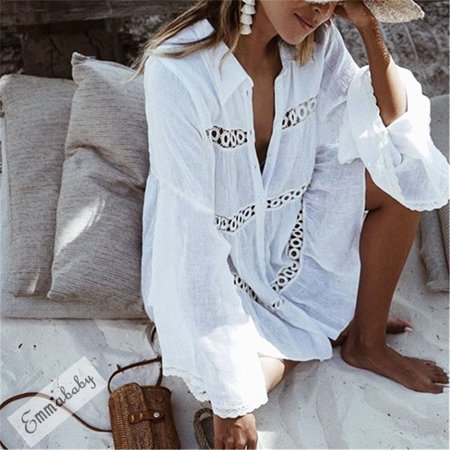 Women Sexy Bikini Beach Cover Up Swimwear Crochet Bathing Summer Dress Suit White S