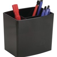 Officemate OIC 2200 Series Large Pencil Holder w/3 Stepped Compartments, Black (22292)