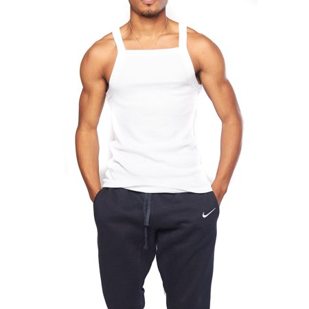 2b7dca13 Genx - Mens Basic Solid Square Cut Skinny Fit Workout Rib G-Unit Muscle Tank  Top TAK003-3XL-White - Walmart.com