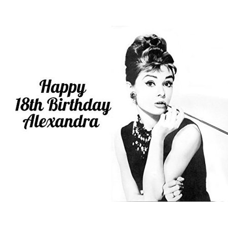 Audrey Hepburn Breakfast at Tiffany's Classic Pin Up Image Photo Cake Topper Sheet Personalized Custom Customized Birthday Party - 1/4 Sheet - 77892](Tiffany Birthday)