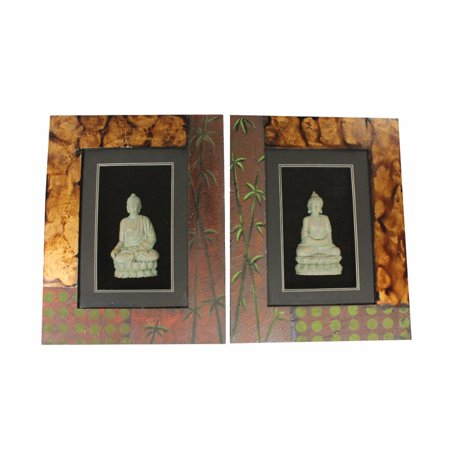 Assortment Collection Color - Wooden Buddha Wall Decor, Multicolor, Assortment Of 2