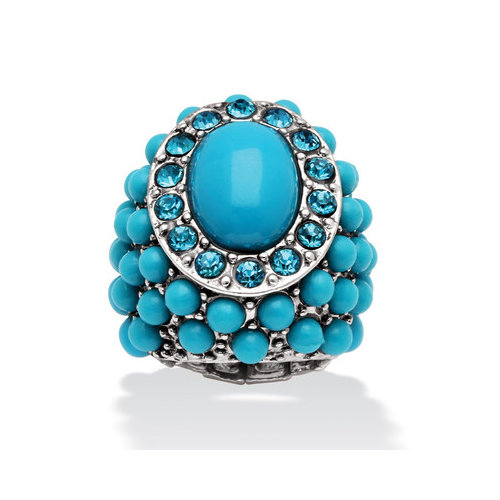 Palm Beach Jewelry 14k Gold Plated Oval Turquoise Ring