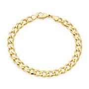 Biker Jewelry Mens Flat Miami Cuban Curb Link Bracelet for Men 180 Gauge Heavy Polished 18K Gold Plated Brass 10MM
