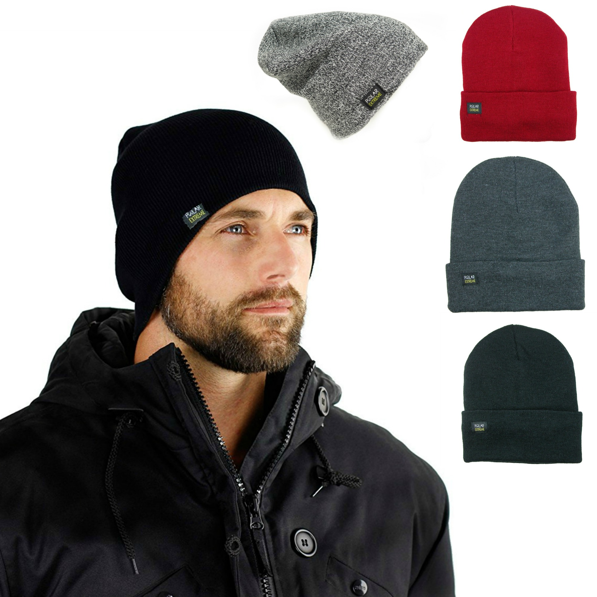 d95fc21c819 Magg - Mens Insulated Thermal Fleece Lined Comfort Daily Soft Beanies  Winter Hats (Gray Beanie) - Walmart.com